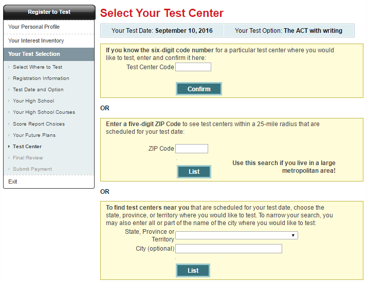 10 - Select your ACT test center.png